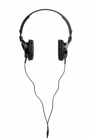 earpiece: Pair of black headphones on a white background Stock Photo