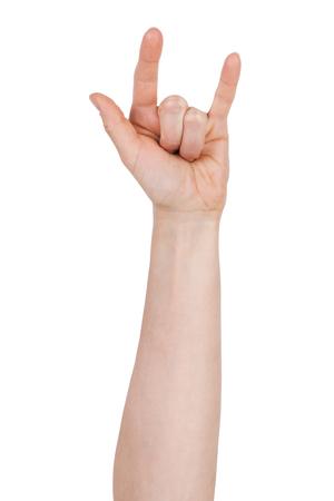 falta de respeto: La mano del hombre con dos dedos levantados sobre un fondo blanco