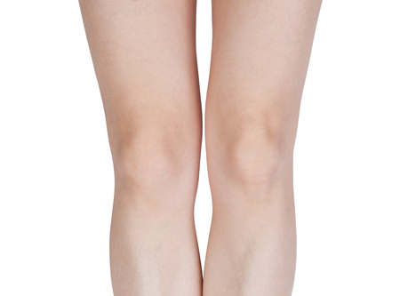 svelte: Detail of the legs with knees on a white background Stock Photo