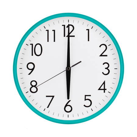 time clock: Exactly six hours on a round dial Stock Photo