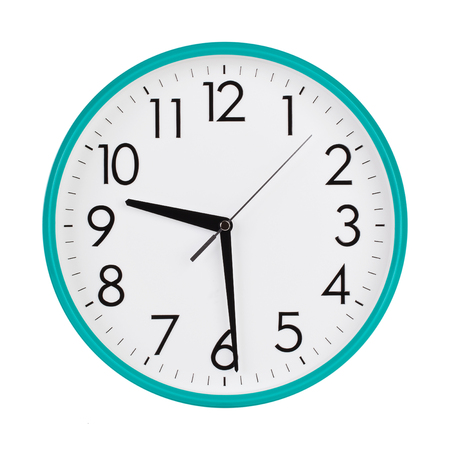 to face to face: Half past nine on a round clock face
