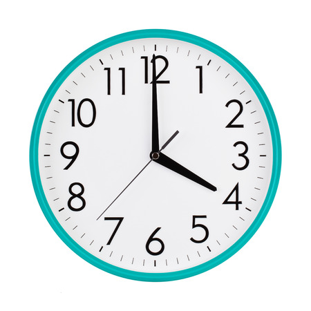 12 hour: Exactly four hours on a round dial Stock Photo
