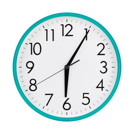 minutes: Five minutes past six on the clock face Stock Photo