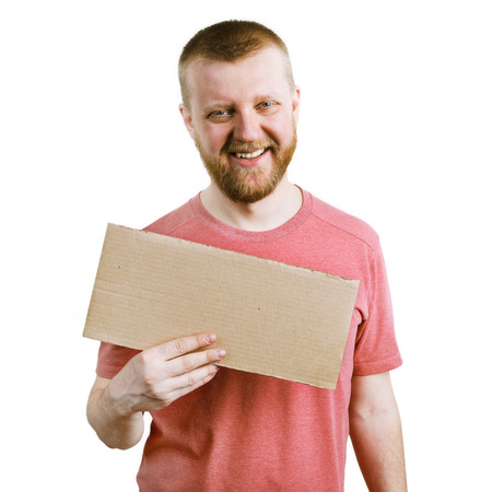 bloke: Funny man with a cardboard sign in his hand Stock Photo