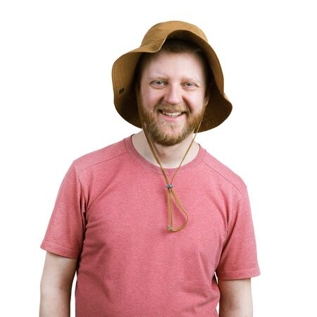 funny bearded man: Funny happy bearded man in a panama hat Stock Photo