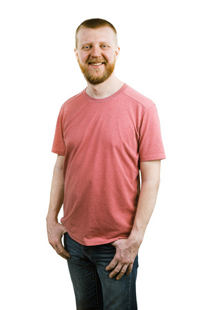 funny bearded man: Funny bearded man in a pink shirt