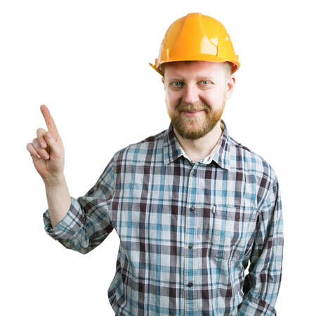 mounter: Bearded man in a helmet shows the index finger upward