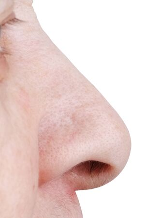 nostrils: Large human nose photographed on a white background Stock Photo