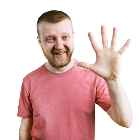 funny bearded man: Funny bearded man in a t-shirt are showing five fingers