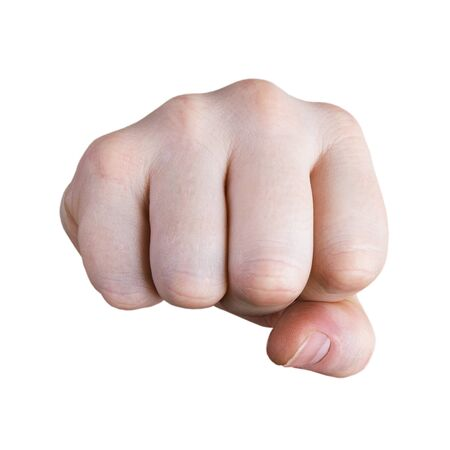 repulse: Fist of an adult on a white background Stock Photo