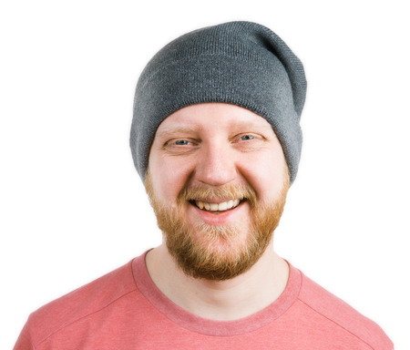 funny bearded man: Funny bearded man in a knitted cap Stock Photo