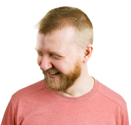 funny bearded man: Funny bearded man in a shirt laughs