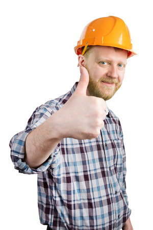 mounter: Bearded man in a helmet shows that everything is OK Stock Photo