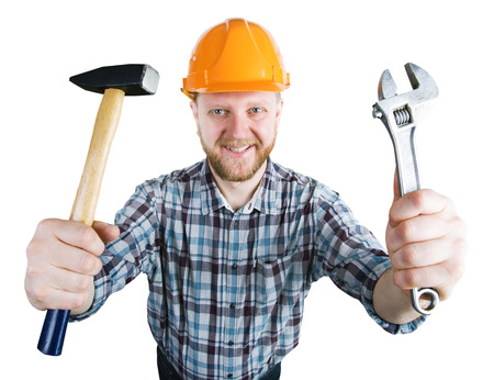 bloke: Man in the orange helmet with a hammer, wrench
