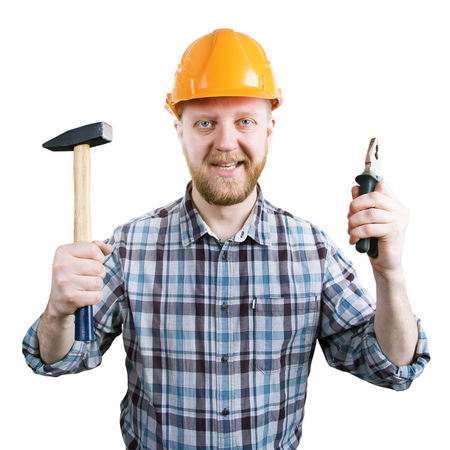 mounter: Man in an orange helmet with a hammer and pliers