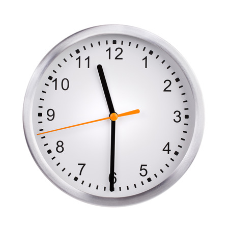 clockwise: Half past eleven on the round clock