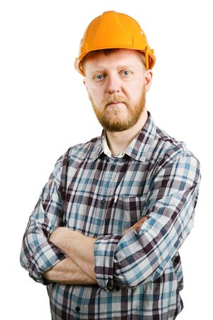 bloke: Construction worker in orange helmet and plaid shirt Stock Photo