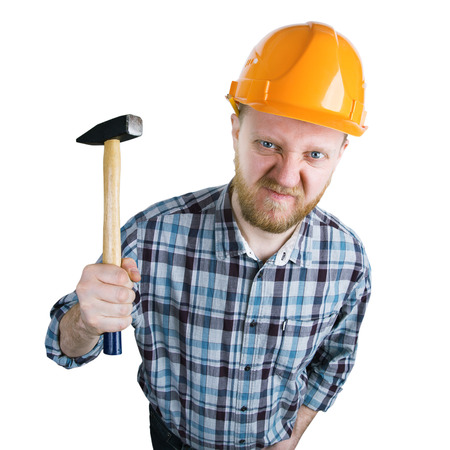 spite: Angry builder in a helmet with a hammer