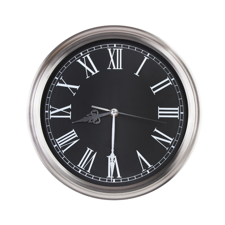 ninth: Large round clock shows half of the ninth