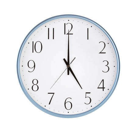 12 hour: Five hours on a round clock face Stock Photo
