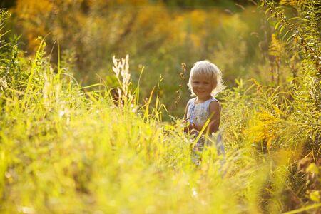 honey blonde: Little beautiful girl in a summer dress