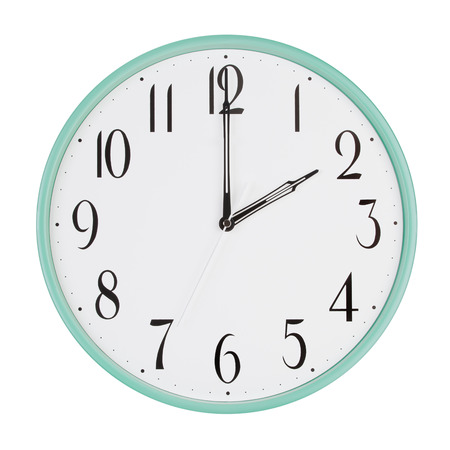 12 hour: Exactly two hours on the large round clock Stock Photo