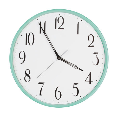 minutes: Round clock shows five minutes to four