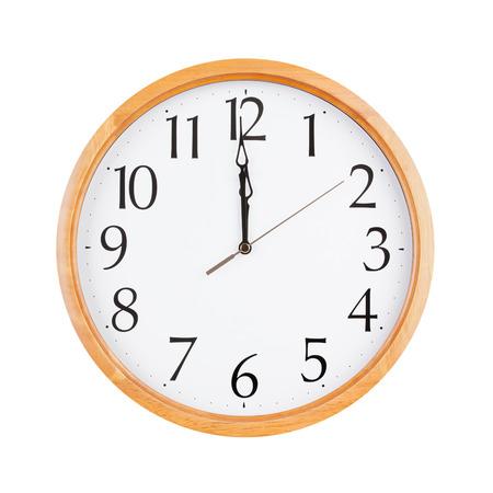 twelve: Exactly twelve oclock on the round dial Stock Photo