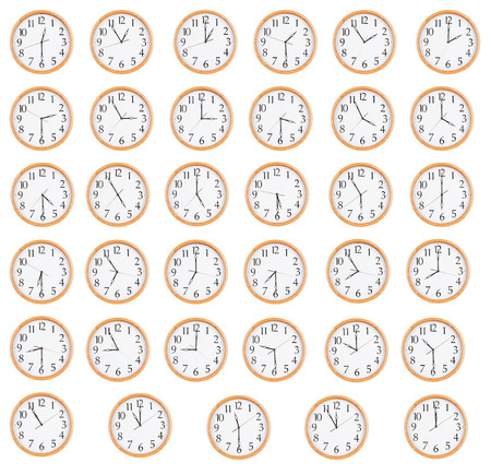 dials: Many round clocks show different time on the dials