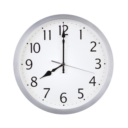 8 12: Eight oclock on the round clock dial