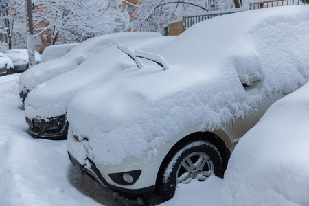 Several cars stand under white snow in winter 版權商用圖片