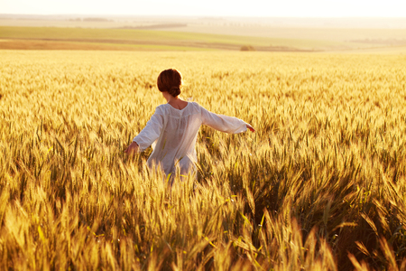 Happy woman walks through a rye field in the rays of the evening sun Banque d'images