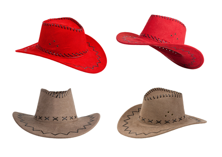 Red and beige cowboy hats on a white background