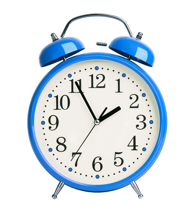 Big blue alarm clock on white background Stock Photo