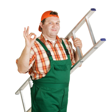 Worker with a ladder shows that everything is ok