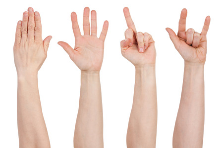 Hands with different gestures on a white background