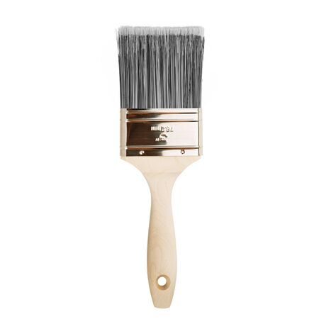 Paint brush with bristles on white background