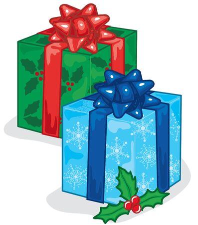 クリスマス プレゼントの鮮やかなイラスト 写真素材