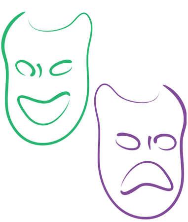 カラフルなマルディグラ マスク、幸せと悲しい 写真素材