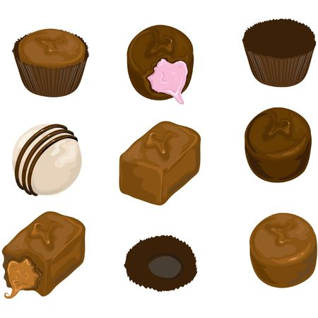 Illustration of assorted chocolate candy.