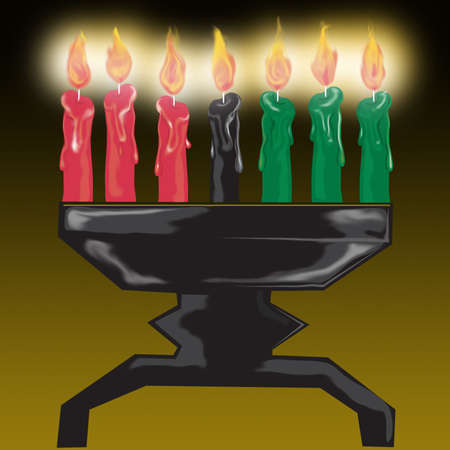 Illustration of kwanza candles glowing