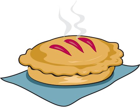 Illustration of a fresh baked pie, still steaming, with black outline