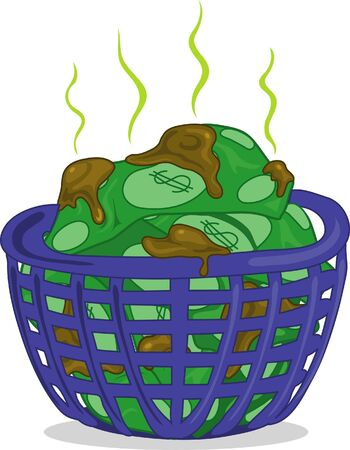 Illustration of dirty money in a laundry basket illustration