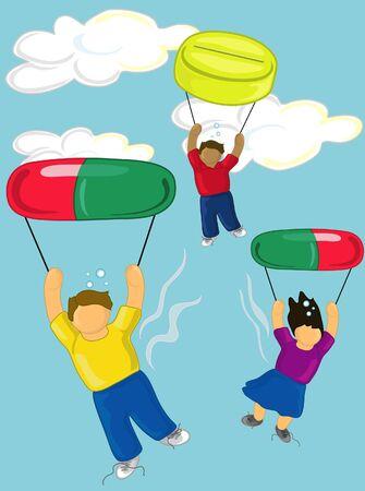 Illustration of teens flying high on drugs 版權商用圖片