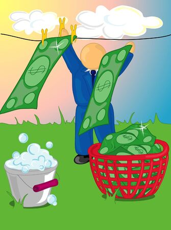 Illustration of a man hanging out money on a clothes line. Stock Photo