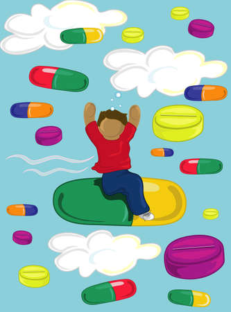 Illustration of a teen riding high on drugs