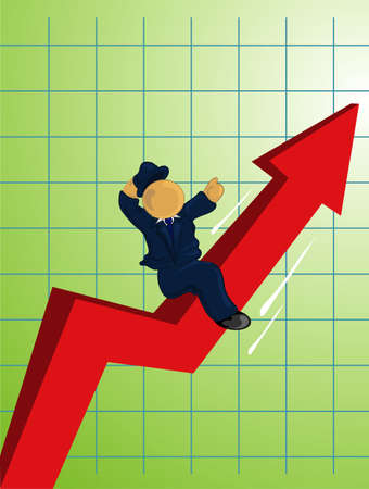 Illustration of a man in a suit riding the profits up.