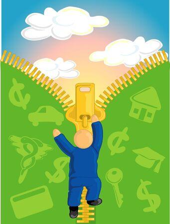 Illustration of a man climbing a zipper escaping debt