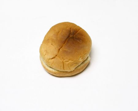 Isolated toasted bun on white Stock Photo