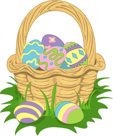 Colorful illustration of an easter basket filled with eggs.